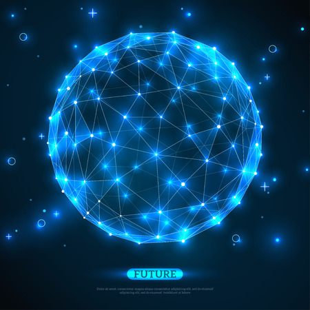Illustration pour Abstract vector sphere. Futuristic technology wireframe mesh polygonal element. Connection Structure. Geometric Modern Technology Concept. Digital Data Visualization. Social Network Graphic Concept - image libre de droit