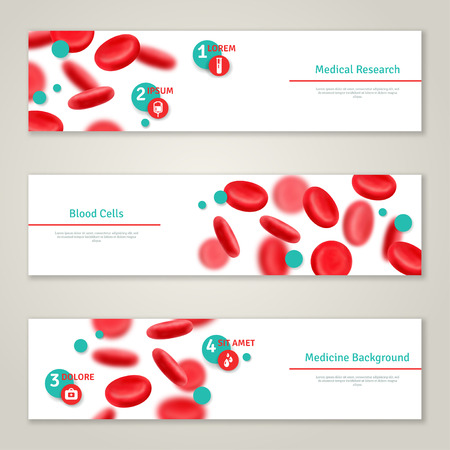 Ilustración de Blood cells. Medical concept banners set. Vector illustration. Glossy realistic natural red blood cells. Blood donation icons. Donor day infographics template - Imagen libre de derechos