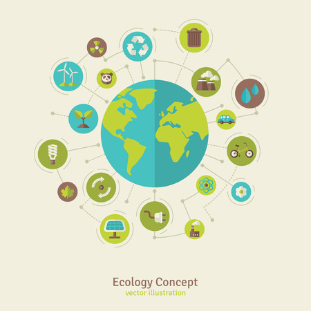 Ilustración de Ecology network connection concept. Vector illustration. Environmental infographics template with circles and flat icons. Environmental protection. Nature and Pollution. Go green. Save the planet. - Imagen libre de derechos