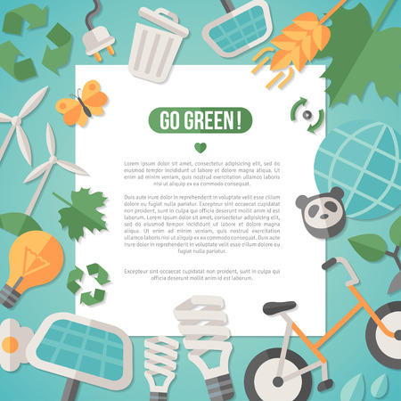 Ilustración de Flat design vector illustration concept for ecology, recycling and green technology. Solar green energy, wind energy. Save the planet concept. Go green. Save the Earth. Earth Day. - Imagen libre de derechos