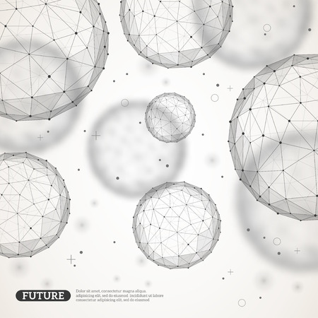 Illustration pour Wireframe mesh polygonal elements. Spheres with connected lines and dots. Connection Structure. Geometric Modern Technology Concept. Digital Data Visualization. - image libre de droit