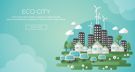 Illustration pour Green eco city and sustainable architecture banner. Vector illustration. Buildings with solar panels and windmills. Happy clean modern city. Save the planet. Creative concept of Eco Technology. - image libre de droit