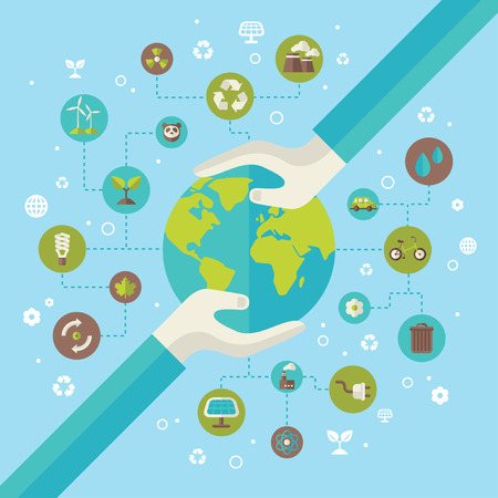 Ilustración de Ecology network connection concept with hands holding Earth. Vector illustration. Environmental infographics template with circles and flat icons. Environmental protection. Go green. Save the planet. - Imagen libre de derechos