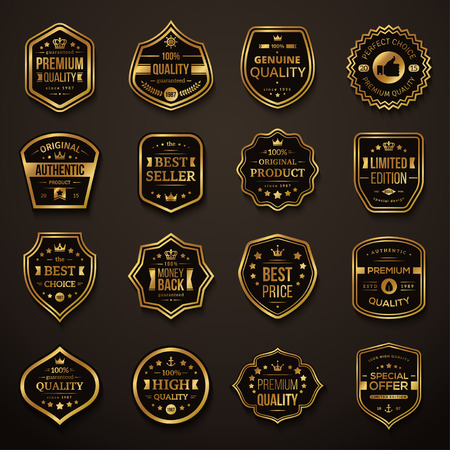 Ilustración de Set of Retro Gold and Black Premium Quality Badges and Labels. Vector Illustration. Quality Guarantee. Best Choice, Best Price, Original Product, Money Back Guarantee. Authentic Product. - Imagen libre de derechos