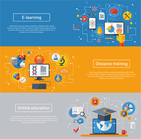 Illustration pour Flat design vector illustration concepts of education and online learning. Online training courses, distance training, e-learning. Web banners with laptop, computer, graduation hat. - image libre de droit