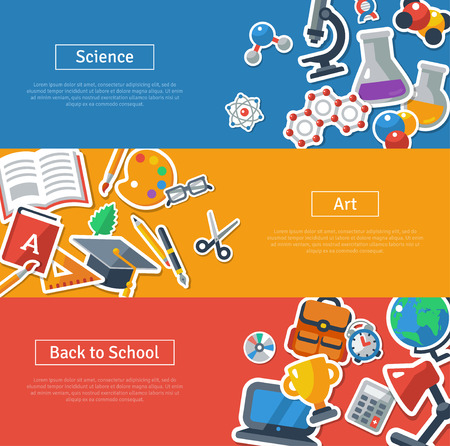 Illustration pour Flat design vector illustration concepts of education. Horizontal banners with school stickers. Science, Art and Back to school. Concepts for web banners and promotional materials. - image libre de droit