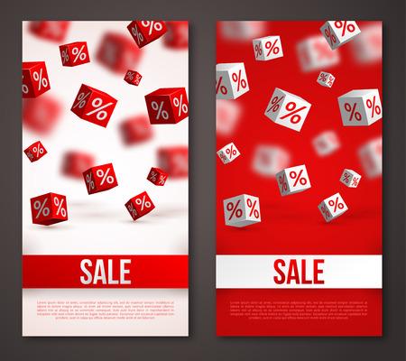 Illustration pour Sale Vertical Banners or Flyers Set. Vector Illustration. Design Template for Holiday Sale Events. 3d Cubes with Percents. Original Festive Backdrop. - image libre de droit