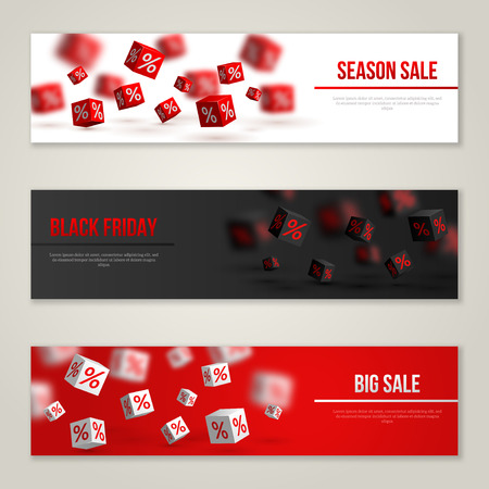 Illustration pour Sale Horizontal Banners Set. Vector Illustration. Design Template for Holiday Sale Events. 3d Cubes with Percents. Original Festive Backdrop. Black Friday. - image libre de droit