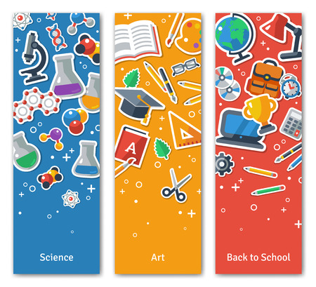 Illustration pour Back To School Vertical BannersSet With Flat Sticker Icons. Vector Flat Illustration. Arts and Science Stickers. Education Concept. Back to school. Concepts for web banners and promotional materials. - image libre de droit