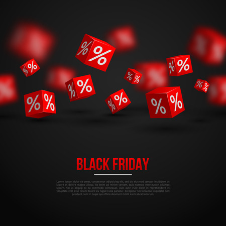 Illustration pour Black Friday Sale Poster. Vector Illustration. Design Template for Holiday Sale Event. 3d   Cubes with Percents. Original Festive Backdrop. - image libre de droit