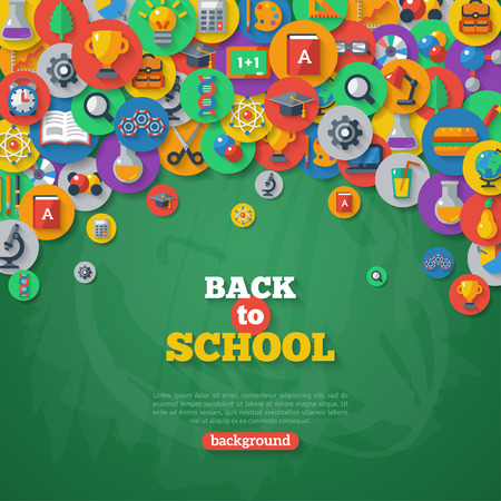 Illustration pour Back to School Background. Vector Illustration. Flat School Icons in Circles on Chalkboard Textured Backdrop. Education Concept. Arts and Science. - image libre de droit