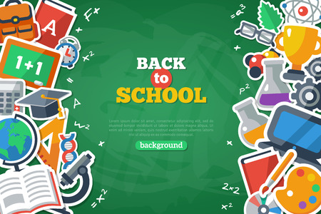 Foto de Back To School Banner With Flat Icon Set on Chalkboard Textured Backdrop. Vector Flat Illustration. Arts and Science Stickers. Education Concept. - Imagen libre de derechos