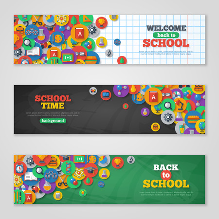 Illustration pour Back To School Banner Set With Flat Icons on Circles. Vector Flat Illustration. Arts and Science Stickers. Education Concept. - image libre de droit