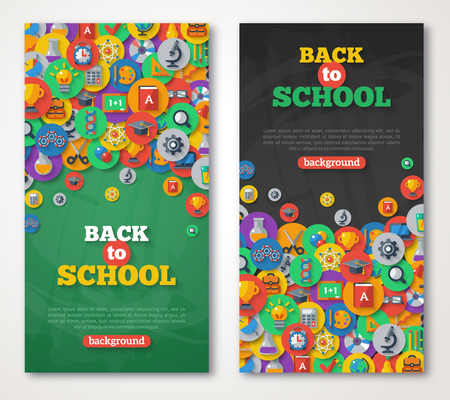 Foto de Back To School Banner Set With Flat Icons on Circles. Vector Flat Illustration. Arts and Science Stickers. Education Concept. - Imagen libre de derechos