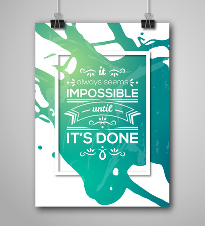 Ilustración de Motivational Poster Square Frame with Paint Splash. Text Lettering, Inspirational Saying about Strength. Quote Typographical Poster Template, Vector Design - Imagen libre de derechos