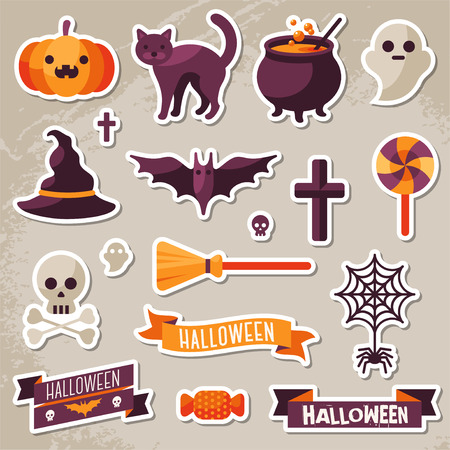 Ilustración de Set of Halloween Ribbons and Characters Stickers. Scrapbook elements. Vector illustration. Textured background. Witch Hat, Sweet Candy, Spider and Web, Skull - Imagen libre de derechos