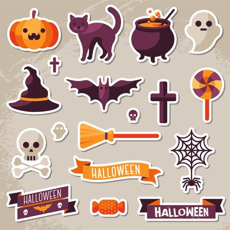 Ilustración de Set of Halloween Ribbons and Characters Stickers. Scrapbook elements. Vector illustration. Textured background. Witch Hat, Sweet Candy, Spider and Web, Skull - Imagen libre de derechos