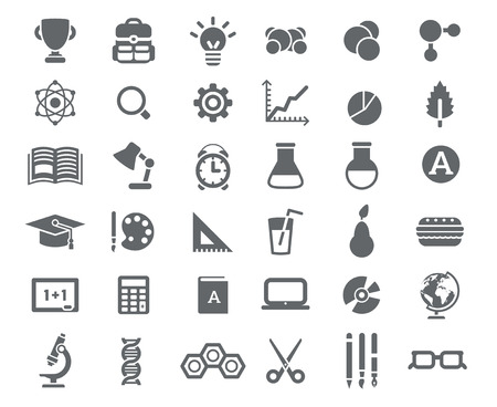 Illustration pour Flat School Icons Vector Collection. High School Object and College Education Items with Teaching and Learning Symbols. Studying and Educational Elements. Back to School. - image libre de droit