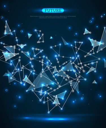 Illustration pour Abstract polygonal space blue background with connecting dots and lines. Vector illustration. Futuristic technology wireframe mesh. Geometric Modern Technology Concept. Digital Data Visualization. - image libre de droit