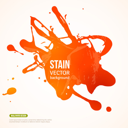 Ilustración de Splatter Paint Banner. Vector Illustration. Orange Painted Background with Acrylic Paint Splash. Ink Spot isolated on white. Abstract Banner Paints. Background for card, poster, identity design - Imagen libre de derechos