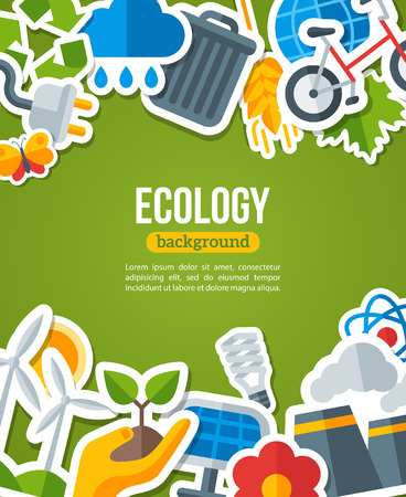 Illustration pour Ecology Background with Environment and Green Energy Flat Icons. Vector Illustration. Environmental Protection Banner. Nature and Pollution. Go Green. Save the Planet. - image libre de droit