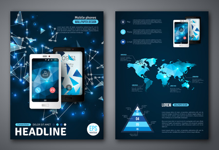 Illustration pour Set of Vector Poster Templates with Wireframe Elements. Abstract Background for Business Documents, Flyers and Placards. Mobile Technologies, Applications and Online Services Infographic Concept. - image libre de droit