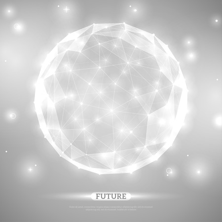 Ilustración de Abstract vector sphere. Futuristic technology wireframe mesh polygonal element. Connection Structure. Geometric Modern Technology Concept. Digital Data Visualization. Social Network Graphic Concept - Imagen libre de derechos