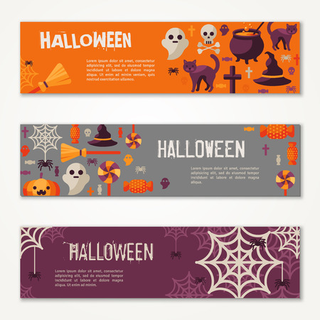 Illustrazione per Halloween Horizontal Banners or Flyers. Vector Illustration. Halloween Party Invitation with Flat Icons. Place for Your Text Message. Baneers Set with Witch Hat, Spider Web and Pumpkin. - Immagini Royalty Free