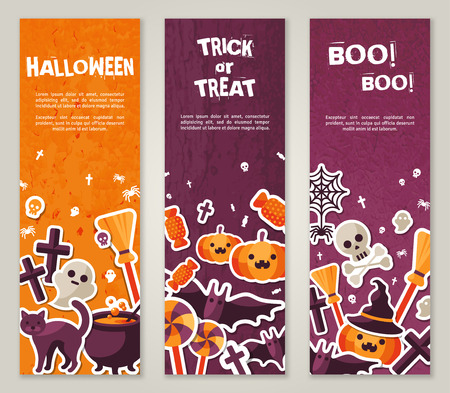 Illustrazione per Vertical Banners Set with Halloween Symbols. Vector Illustration. Orange Pumpkin and Spider Web, Witch Hat and Cauldron, Skull and Crossbones. - Immagini Royalty Free
