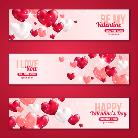 Illustration pour Valentines Day Horizontal Banners Set with Hearts for Holiday Design. Vector Illustration. Flying Shining Hearts. Lights and Sparkles. I love You, Happy Valentine's Day, Be My Valentine Concept. - image libre de droit
