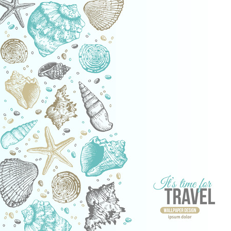 Illustration pour Summer Sea Shells Postcard Design. Vector Background with Seashells, Sea Star and Sand. Hand Drawn Etching Style. Place for Your Text. - image libre de droit