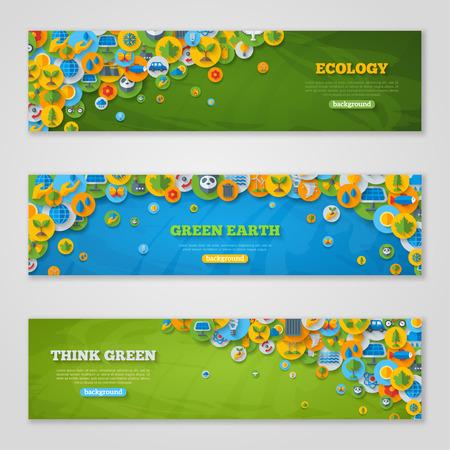 Ilustración de Flat Design  with Icons of Ecology, Environment, Green Energy and Pollution. Save World. Save the Planet. Save the Earth. Creative Concept of Eco Technology. Think Green. - Imagen libre de derechos