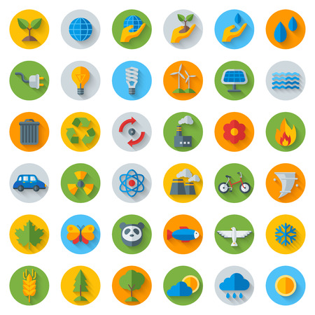 Illustration pour Ecology Flat Icons on Circles with Shadow. Set Isolated on White.  illustration. Hand with sprout, hand with water drop. Solar energy sign, wind energy sign, wild animals. Save the planet. - image libre de droit