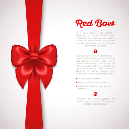 Illustration pour Red Ribbon with Satin Bow Isolated on White. Vector Illustration. Invitation Decorative Card Template, Voucher Design, Holiday Invitation Design. - image libre de droit