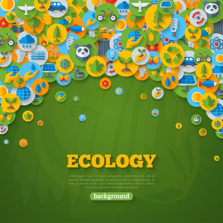 Illustration for Ecology Background with Flat Icons on Circles. Environmental Protection, Ecology Concept Poster. Vector illustration. Green Energy, Wild Nature, Solar panels, Recycle, Growing Sprout Icons. - Royalty Free Image