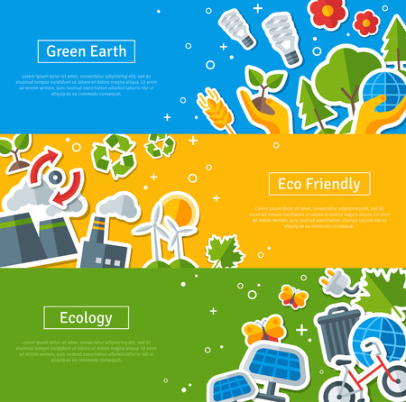 Ilustración de Environmental Protection, Ecology Concept Horizontal Banners Set in Flat Style. Vector illustration. Ecology Stickers Symbols. Green Energy, Save Planet Concept. Solar panels. Hand Holding Sprout. - Imagen libre de derechos