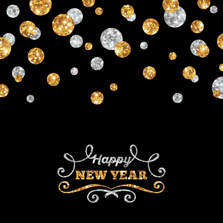 Illustration for Happy New Year Greeting Card with Shining Gold and Silver Dots on Black Background. Vector illustration. Happy New Year Lettering with Curls. - Royalty Free Image