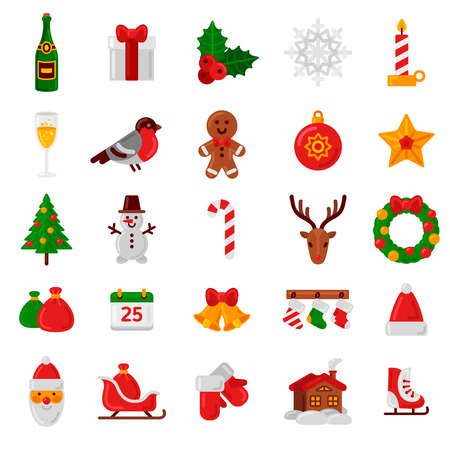 Ilustración de Set of Flat Christmas Icons. Vector Illustration. Holiday Signs and Symbols. Happy New Year Icons. Christmas Tree, Candy Can, Santa Claus, Holly Berry, Gingerbread Man and House. - Imagen libre de derechos