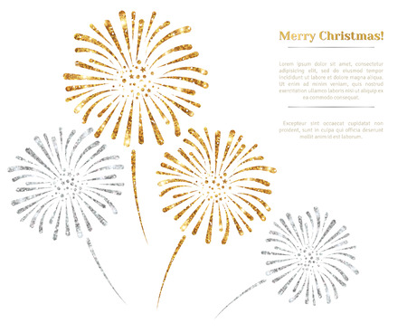 Ilustración de Vector gold and silver fireworks on white background. Vector illustration. Gold Glitter Texture, Sequins Pattern. Lights and Sparkles. Glowing New Year or Christmas Backdrop. Place for text. - Imagen libre de derechos