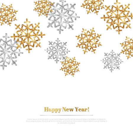 Illustration for Merry Christmas Background with Gold and Silver Snowflakes. Vector Illustration. Gold Glitter Texture, Sequins Pattern. Glowing Sparkles New Year or Christmas Backdrop. Season Greetings Banner - Royalty Free Image