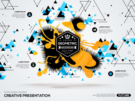 Illustration pour 3D abstract background with paint stain and geometric triangle shapes. Vector design layout for business presentations, flyers, posters. Scientific future technology background. Geometry polygon. - image libre de droit