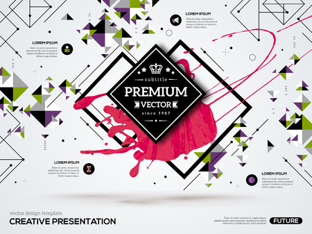 Illustration for 3D abstract background with paint stain and geometric rhombus shapes. Vector design layout for business presentations, flyers, posters. Scientific future technology background. Geometry polygon. - Royalty Free Image