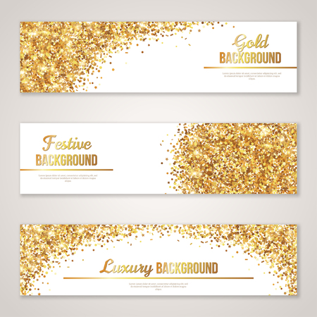 Illustration pour Banner Design with Gold Glitter Texture.  - image libre de droit