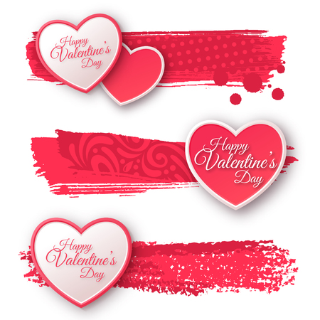 Illustration pour Pink and White Paper Hearts with Watercolor Patterned Strokes. - image libre de droit