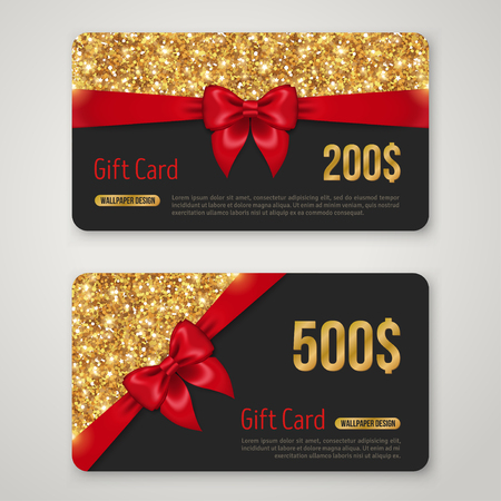 Illustration pour Gift Card Design with Gold Glitter Texture and Red Bow.  - image libre de droit
