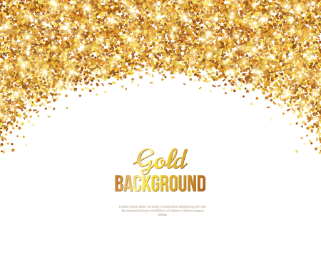 Ilustración de Greeting Card with Gold Confetti Glitter Arch. illustration. Sequins Pattern. Lights and Sparkles. Glowing Holiday Festive Poster. Gift Card, Voucher Design - Imagen libre de derechos