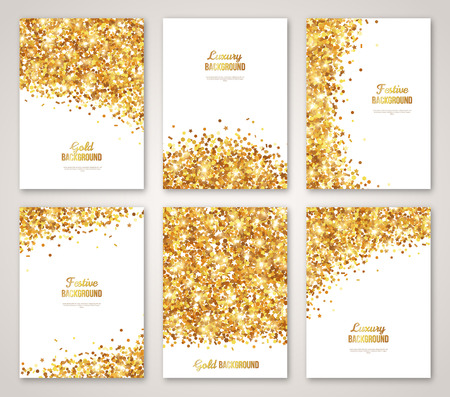 Illustration pour Set of White and Gold, Greeting Card  Design. Gold Confetti Glitter. illustration. Sequins Pattern. Lights and Sparkles. Glowing Holiday Festive Poster. Gift Cards Design - image libre de droit