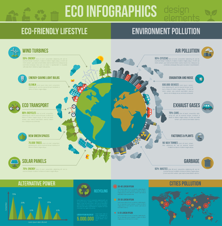 Illustration pour Ecology Infographics. Vector illustration. Environmental template with flat icons. Environmental protection and Pollution. Go green. Save the planet. Earth Day. Creative concept of Eco Technology. - image libre de droit