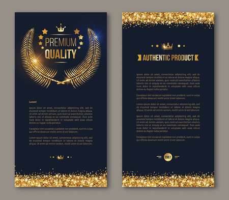 Illustration for Flyer design layout template. Vector illustration. Business brochure design with golden laurel wreath and gold confetti on dark background. Glittering premium vip design. - Royalty Free Image