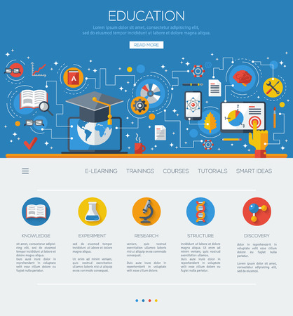 Foto de Flat design concept education and online learning. - Imagen libre de derechos